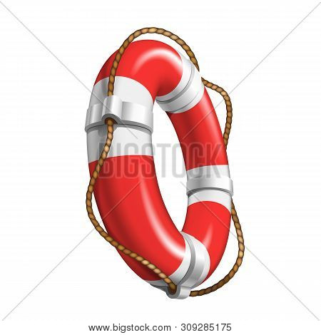 Life Saver Boat Element For Help Drowning Vector. Life Safety With Cable Equipment. Colorful Red And