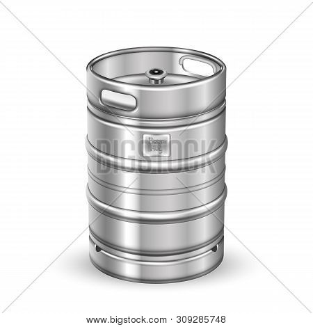 Classic Stainless Steel Beer Keg Barrel Vector. Blank Standard Aluminum Sealed Keg With Special Valv