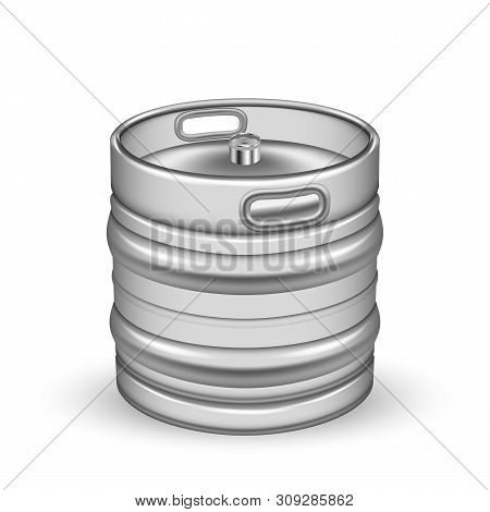 Classic Chrome Metallic Cider Keg Barrel Vector. Blank Small Aluminium Keg For Delivery To Pub And B