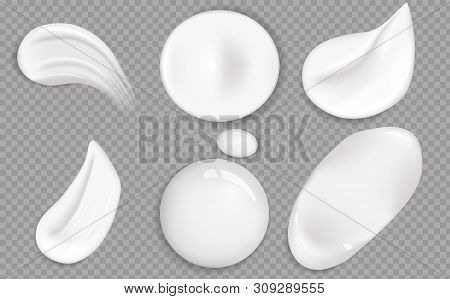 Set Of Cosmetic White Cream Texture. Cosmetic Cream Smears Realistic Icon Set. Smears Of Thick White