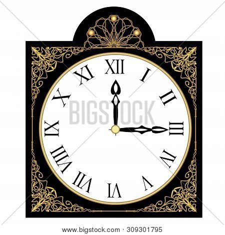 Black Antique Richly Decorated Clock, Clock Face With Roman Numbers, Isolated Art Deco Object With G