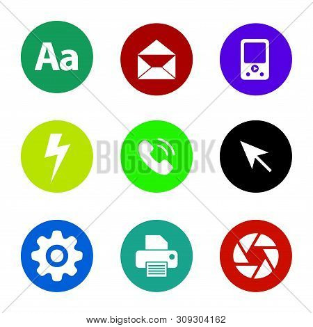 Icon Pack. Aa Text Icon, Mail Icon, Media Player Icon, Lighting Icon, Phone Icon, Arrow Cursor Icon,