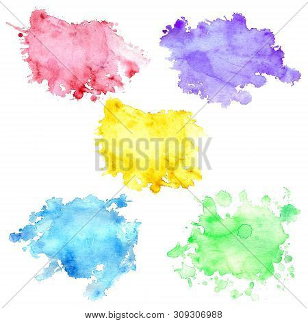 Set Of 5 Watercolor Blots With Splashes And Stains. Watercolor Spots Of Yellow, Purple, Blue, Green