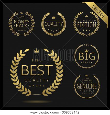 Golden Laurel Wreath Label Badge Set Isolated. Best Quality, Best Offer, Best Buy. Vector Illustrati