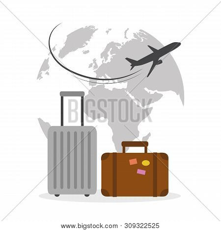 Plane Flying Around The Globe With Suitcase Travel Concept Vector Illustration Eps10