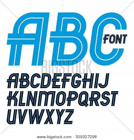 Set Of Vector Regular Upper Case English Alphabet Letters Made With White Lines, For Use As Design E