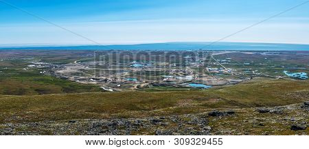A Panoramic View Of Nome With The Bering Sea As Seen From The Top Of Anvil Mountain.