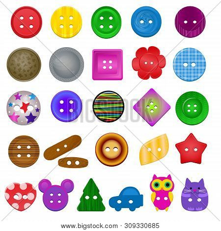 Sewing Button Vector Kids Fashion Design Clothing Accessory Collection Clothes Tailor Illustration S