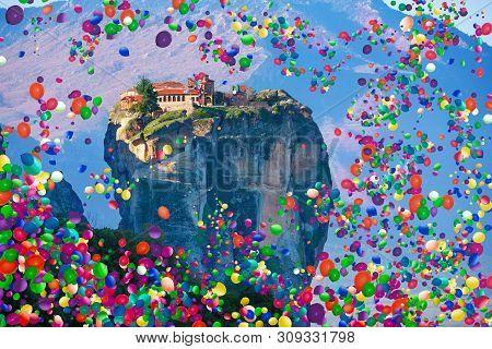 Meteora, Kalabaka In Greece With Air Balloons