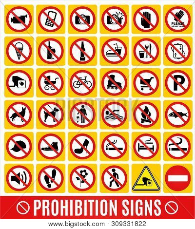 Stock Illustration No Set Symbol.prohibition Set Symbol. Icon Set.