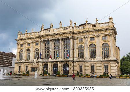 Turin, Italy - June 14, 2018: Royal Palace (palazzo Madama E Casaforte Degli Acaja) In Turin, Italy.