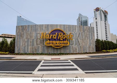 Atlantic City, Nj - 11 June 2019: Tall Skyscraper Of Hard Rock Casino Resort In Atlantic City On The