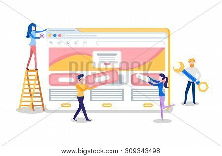Web Site Creation, Browser And Online Page, Internet Tab. Programmer Adding Details To Website, Woma
