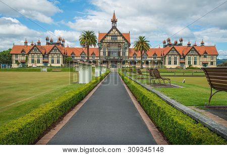 Rotorua, New Zealand - December 09 2017: Rotorua Museum An Iconic Building In Government Garden Of R