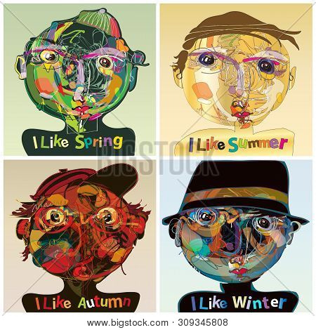 Vector Set Of Four Seasons, Presentation Of The Seasons With Different Human Face Characters, The Il