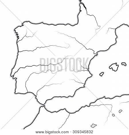 Map Of The Spanish Lands: Spain, Portugal, Iberia, Galicia, Catalonia, Valencia, Andalusia, Leon, Ar