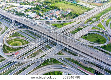 Bangkok Expressway Top View, Top View Over The Highway,expressway And Motorway At Night, Aerial View