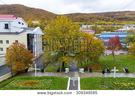 Petropavlovsk-kamchatsky, Russia- 05 October 2014: View Of The Memorial Complex Sopki Nikolskoy, Mai