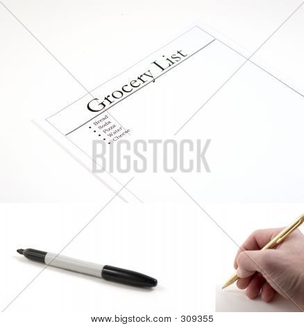 Grocery List - (marker And Hand With Pen Included To Be Pasted)
