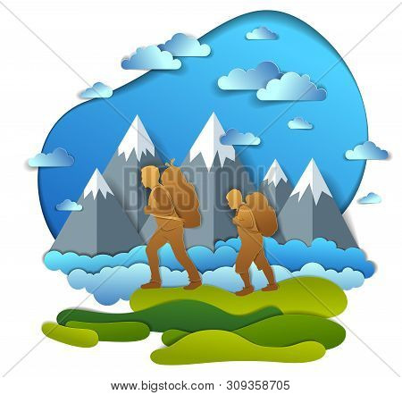 Father and son hiking to nature with mountain range, active men, fatherhood and teenager son growing masculine. Vector illustration of beautiful summer scenic landscape, clouds in the sky, holidays. poster