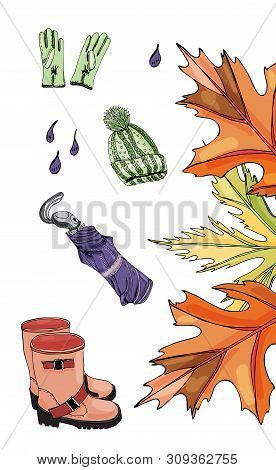 Collection With Hand Drawn Of Items Of Autumn Clothes, Leaves And Drops. Ink And Colored Sketch Obje