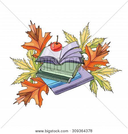 Set Of  Hand Drawn Ink And Colored  Sketch With Book, Autumn Leaves And Apple For Green Press Or Edu