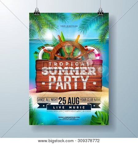Vector Summer Beach Party Flyer Design With Tropical Palm Leaves And Shipping Elements On Ocean Land