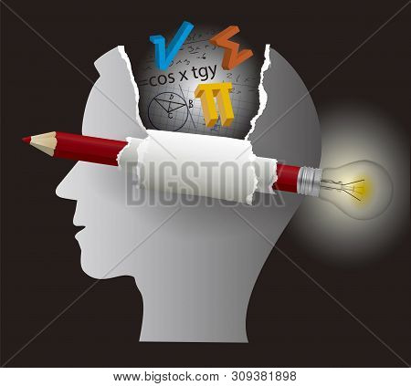 Student Of Mathematics, Smart Solutions.  Stylized Male Head Silhouette With Mathematics Symbols And