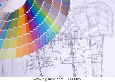 Palette Over A Blueprint Plan
