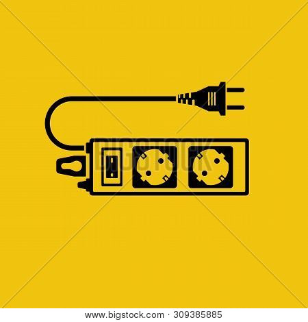 Electric Extension Cord Black Icon. Silhouette Power Outlet Plug. Electric Power Strip. Vector Illus