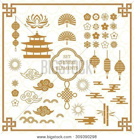 Set Of Asian Decoration Elements For The Chinese Banner Template. A Large Set Of Chinese Characters