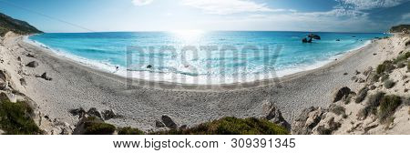 Avali beach panoram, Lefkada island, Greece. Beautiful turquoise sea on the island of Lefkada in Greece