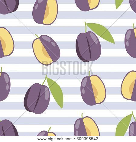 Summer Plum Background, Fabric Pattern. Textile Print Design.