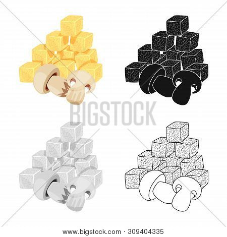 Isolated Object Of Croutons And Mushroom Symbol. Set Of Croutons And Snack Vector Icon For Stock.