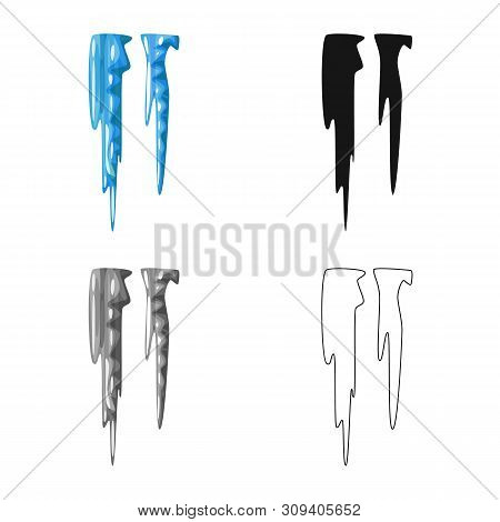 Vector Design Of Icicle And Ice Logo. Set Of Icicle And Froze Stock Symbol For Web.