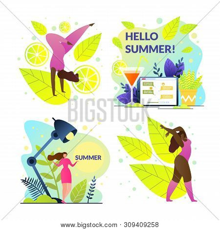 Set Hello Summer Girl At Work And On Vacation. Girl Quit Her Job And Began To Actively Heal And Rela