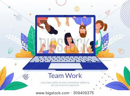 International Company Employees Teamwork Flat Vector Banner Template With Multinational People On La