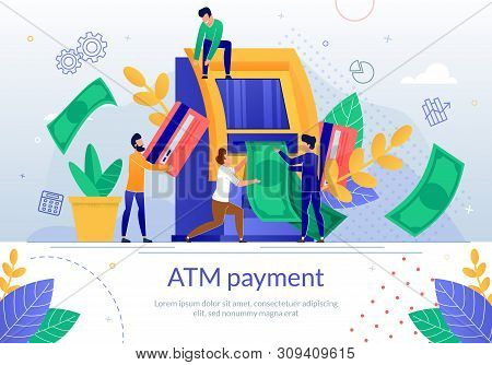 Atm Payment Service Flat Vector Banner Template. Bank Customers With Credit Card Getting Money In Ca