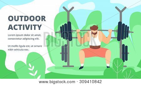 Invitation Flyer Is Written Outdoor Activity. Sports Activities For Physically Strong People. Man Ra