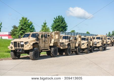 Oshkosh, Wi - 10 June 2019:  A Jltv Joint Light  Tactical Vehicle That Replaced The Hummer Built By