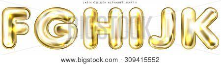 Golden Foil Inflated Alphabet Symbols, Isolated Letters F-g-h-i-j-k