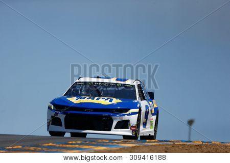 June 21, 2019 - Sonoma, California , USA: Chase Elliott (9) practices for the TOYOTA/SAVE MART 350 at Sonoma Raceway in Sonoma, California .