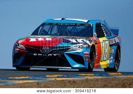 June 21, 2019 - Sonoma, California , USA: Kyle Busch (18) practices for the TOYOTA/SAVE MART 350 at Sonoma Raceway in Sonoma, California .