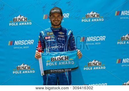 June 22, 2019 - Sonoma, California , USA: Kyle Larson (42) wins the pole award for the TOYOTA/SAVE MART 350 at Sonoma Raceway in Sonoma, California .