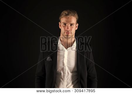 Real Macho. Man Handsome Well Groomed Macho On Black Background. Feeling Confident. Male Beauty And