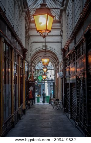 Paris, France - July 11, 2014: Typical Parisian Covered Passage In The Rue Saint Denis And Rue De St