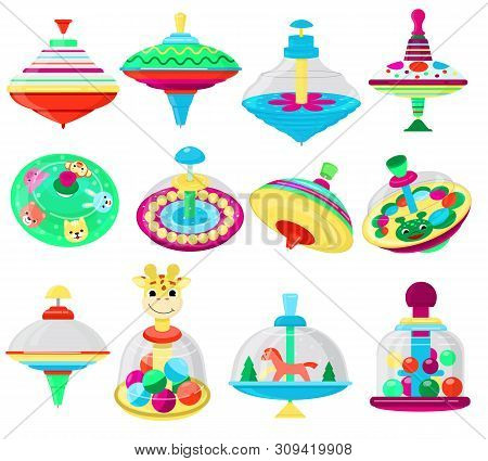Top Toy Vector Kids Whirligig Humming Spinner Colorful Spinning Playing Game With Peg-top Character