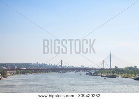Panorama Belgrade Brigdes Over The Sava River (ada, Gazela, The Old And The New Railway Bridges) Tak