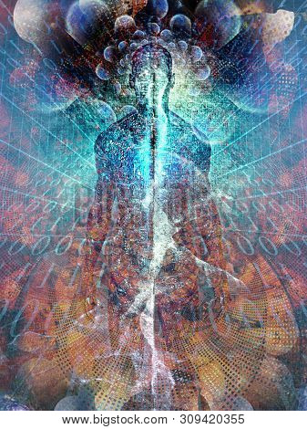 Future Man. Spirit emerges from digital space. Soul or aura and binary code. 3D rendering