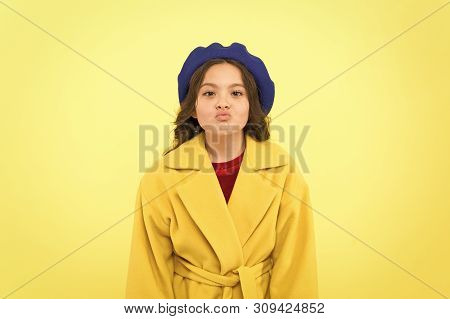 Duck Face Concept. Fashionable Kid Funny Grimace Face. Little Fashionista Posing. Kid Funny Face Sta